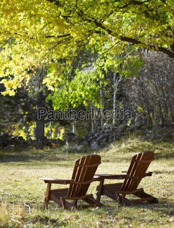 adirondack chairs on lawn