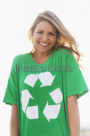front view of woman wearing green