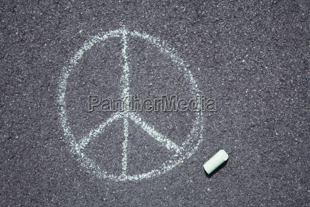 peace sign on pavement