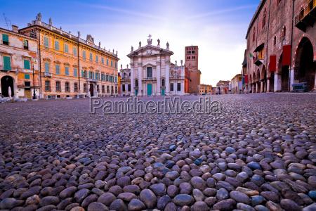mantova city piazza sordello morning view