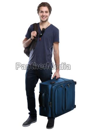 junger mann mit koffer reise reisen