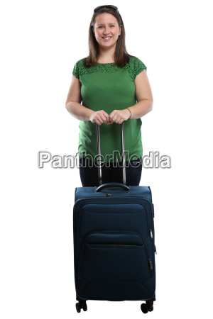 vacation young woman with suitcases luggage