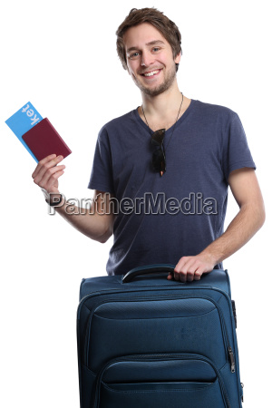 junger mann mit ticket flugticket reise