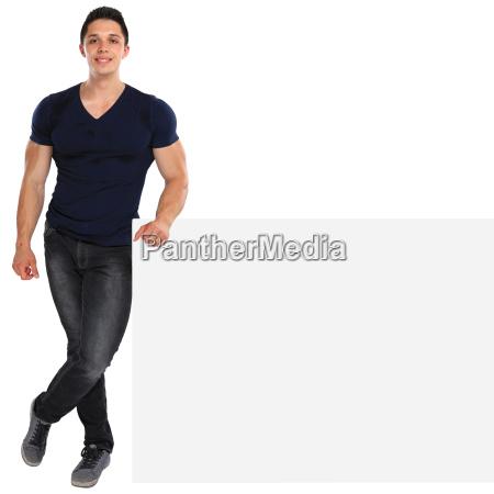 young man shield blank advertising marketing