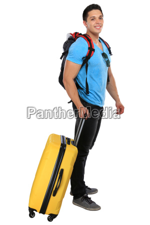 young man pulls suitcase travel travel