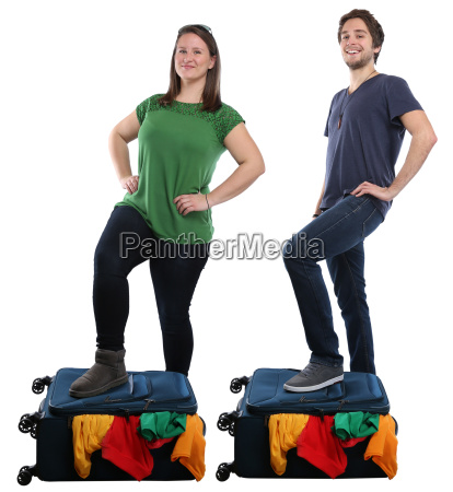 young people people packing suitcase travel
