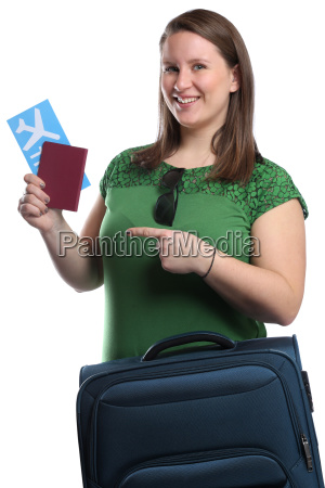 young woman with ticket air ticket
