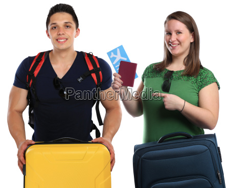 young people traveling with suitcases traveling