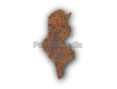 karte von tunesien auf rostigem metall
