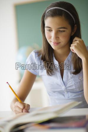 schoolgirl 12 13 writing