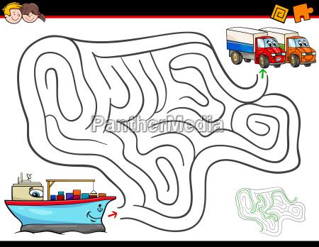 cartoon maze activity with ship and