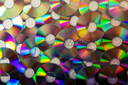 cd collection background top view