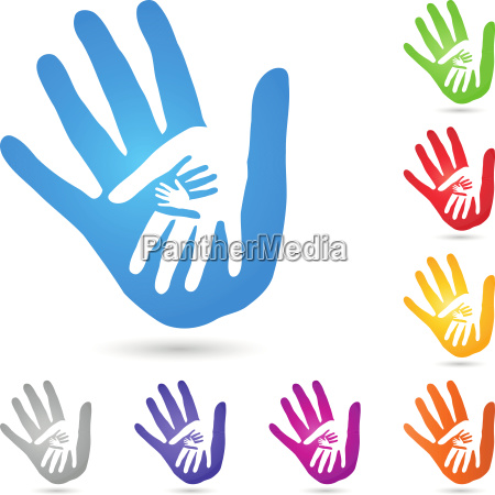 hands physiotherapy people team logo