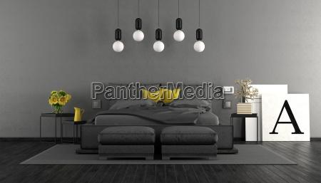 graues und schwarzes hauptschlafzimmer