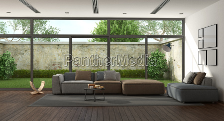 grosses minimalistisches wohnzimmer