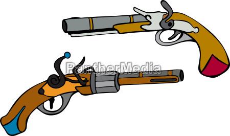 handgezeichnete alte pistolen mit holzgriff