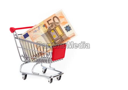 euro im einkaufswagen