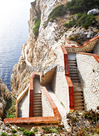 steep staircase built on a mountain