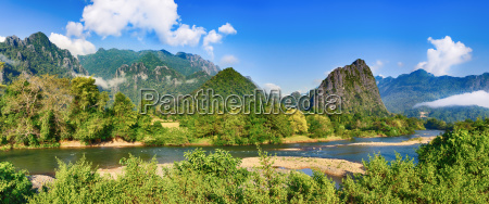 amazing landscape of river among mountains