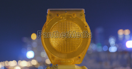 safety caution yellow light in the