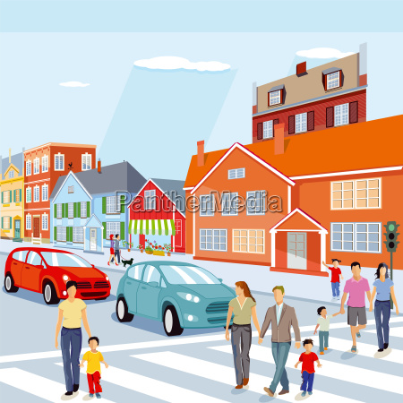 city with pedestrian crossing and cars