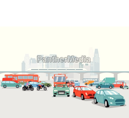 grossstadt mit autos verkehrs illustration