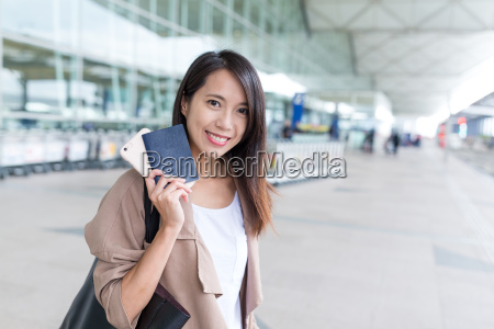 asian young woman go for trip