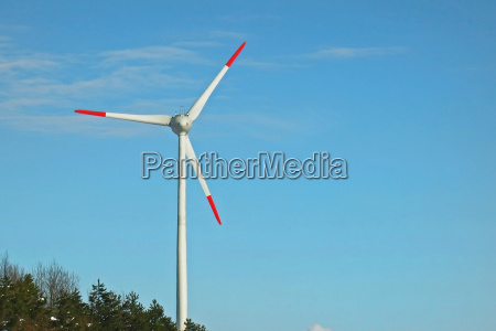 wind turbine blue sky