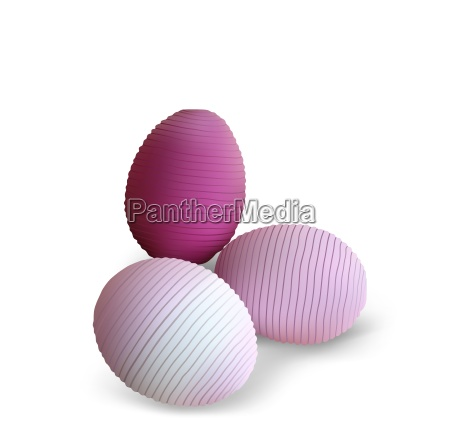 three easter eggs with striped pattern