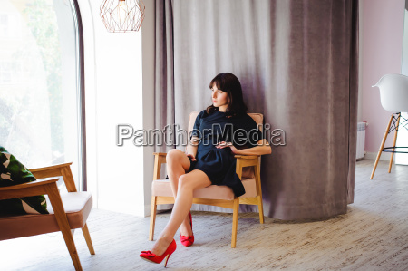 young attractive woman with long legs
