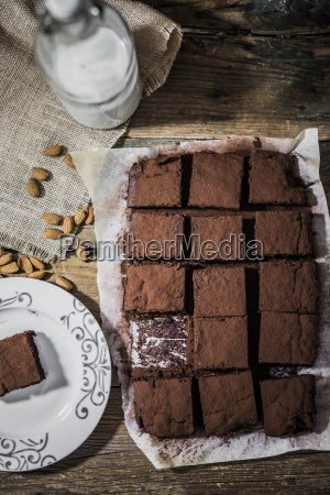 homemade brownies on parchment paper