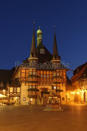 deutschland wernigerode rathaus und marktplatz am