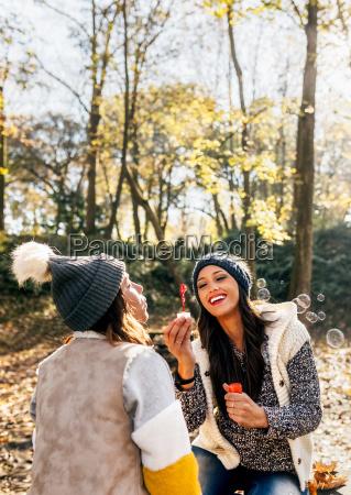 two pretty women having fun with