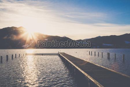 germany bavaria tegernsee boardwalk at sunset