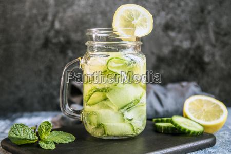 detox water cucumber water lemon mint