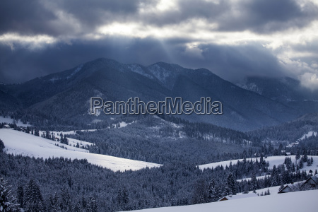 snow in the mountains