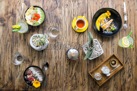 variation of exotic decorated food on
