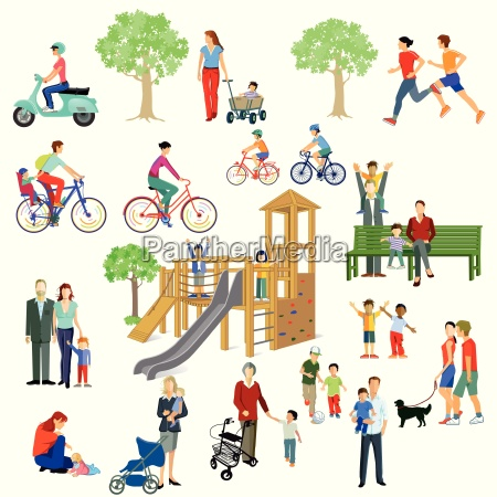 familien und personen spielen im park