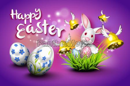 frohe ostern eier glocken und kaninchen