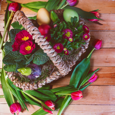 colorful easter basket with spring flowers