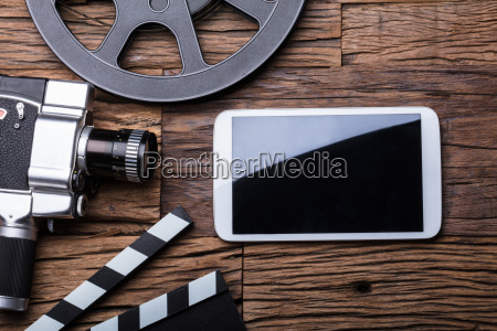 elevated view of smartphone with movie