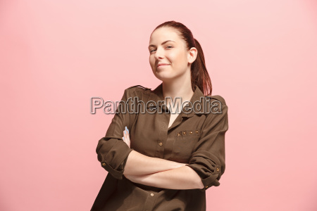 the happy business woman standing and