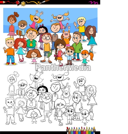 happy children characters group coloring book