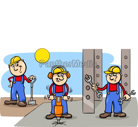 manual workers or builders group at