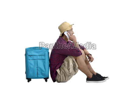 portrait of asian travel man sitting