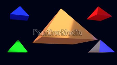 3d illustration von glaenzenden schwebenden pyramiden
