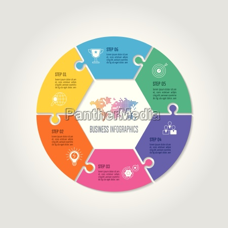 infographic design business concept with 6