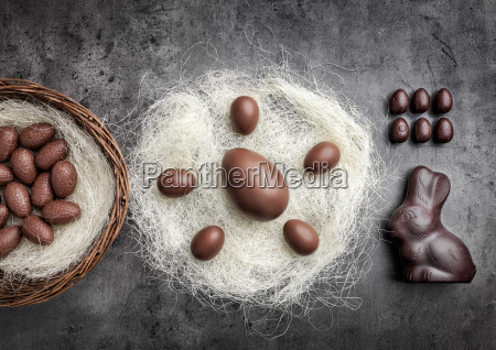 chocolate easter eggs in a nest