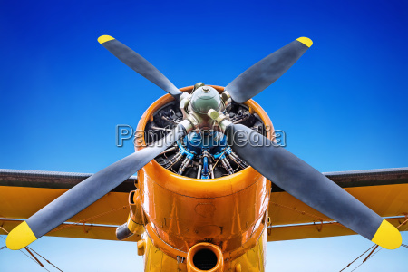 propeller of an aircraft against a