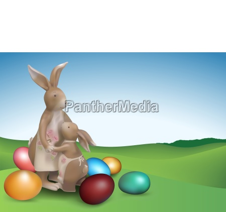 easter background with two brown bunnies